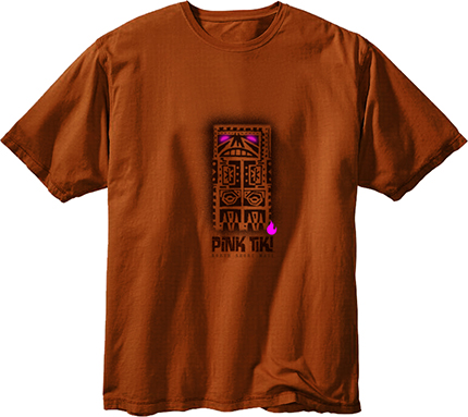 Pink Tiki T-Shirt - Brown